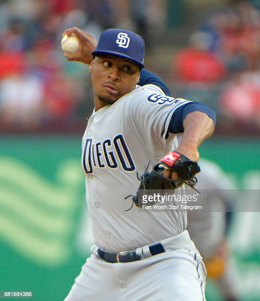 San Diego Padres pitcher Luis Perdomo works during the first inning against the Texas Rangers at Globe Life Park in Arlington Texas on Wednesday May...