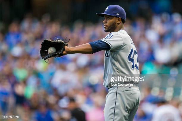 San Diego Padres Pitcher Miguel Diaz catches a ball thrown to him during an MLB game between the San Diego Padres and the Milwaukee Brewers on June...