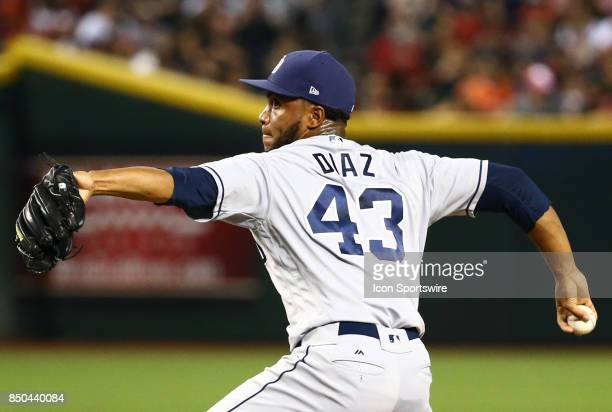 San Diego Padres Pitcher Miguel Diaz pitches during the MLB baseball game between the San Diego Padres and the Arizona Diamondbacks on September 9...