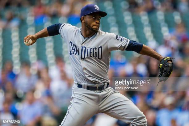 San Diego Padres Pitcher Miguel Diaz throws a pitch during an MLB game between the San Diego Padres and the Milwaukee Brewers on June 16th at Miller...