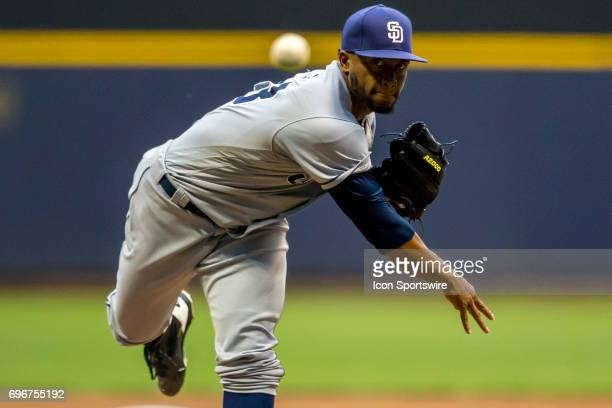 San Diego Padres Pitcher Miguel Diaz throws a pitch durning an MLB game between the San Diego Padres and the Milwaukee Brewers on June 16th at Miller...