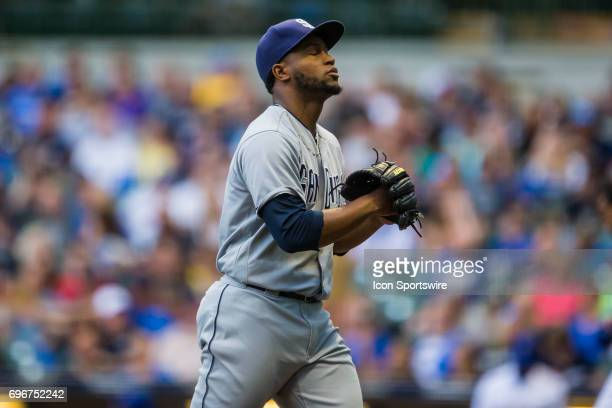 San Diego Padres Pitcher Miguel Diaz walks off the field in relief after the first inning durning an MLB game between the San Diego Padres and the...