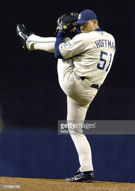 San Diego Padres reliever Trevor Hoffman pitches in the ninth inning to pick up 37th save during 73 victory over the Los Angeles Dodgers at Dodger...