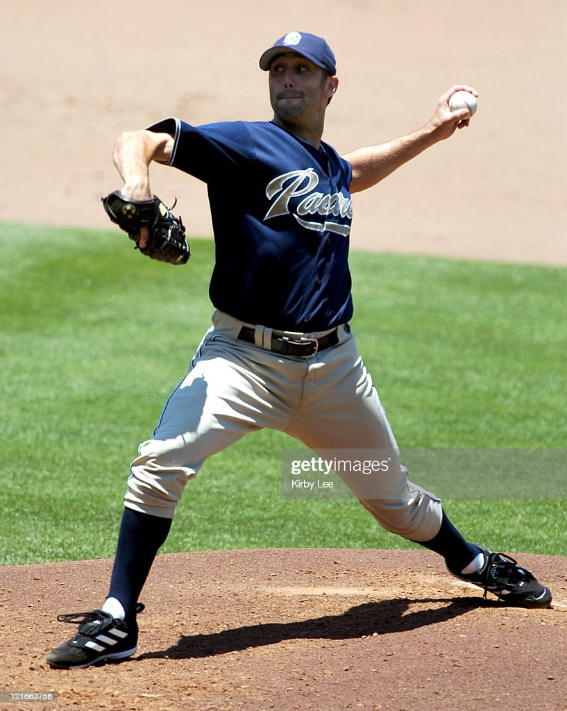 San Diego Padres starter Darrell May pitches during 42 loss to the Los Angeles Dodgers at Dodger Stadium in Los Angeles Calif on Wednesday June 29...
