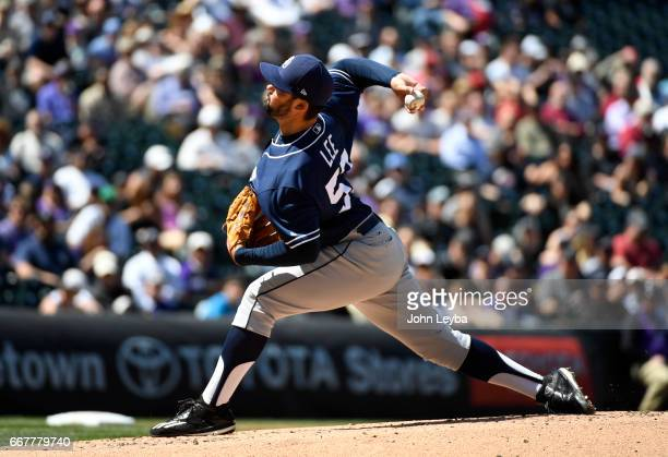 San Diego Padres starting pitcher Zach Lee delivers a pitch in the first inning against the Colorado Rockies on April 12 2017 in Denver Colorado at...