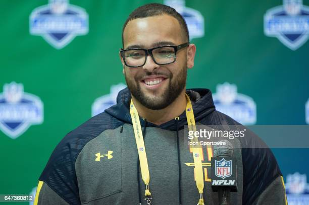 San Diego State offensive lineman Nico Siragusa answers questions from the podium during the NFL Scouting Combine on March 2 2017 at Lucas Oil...