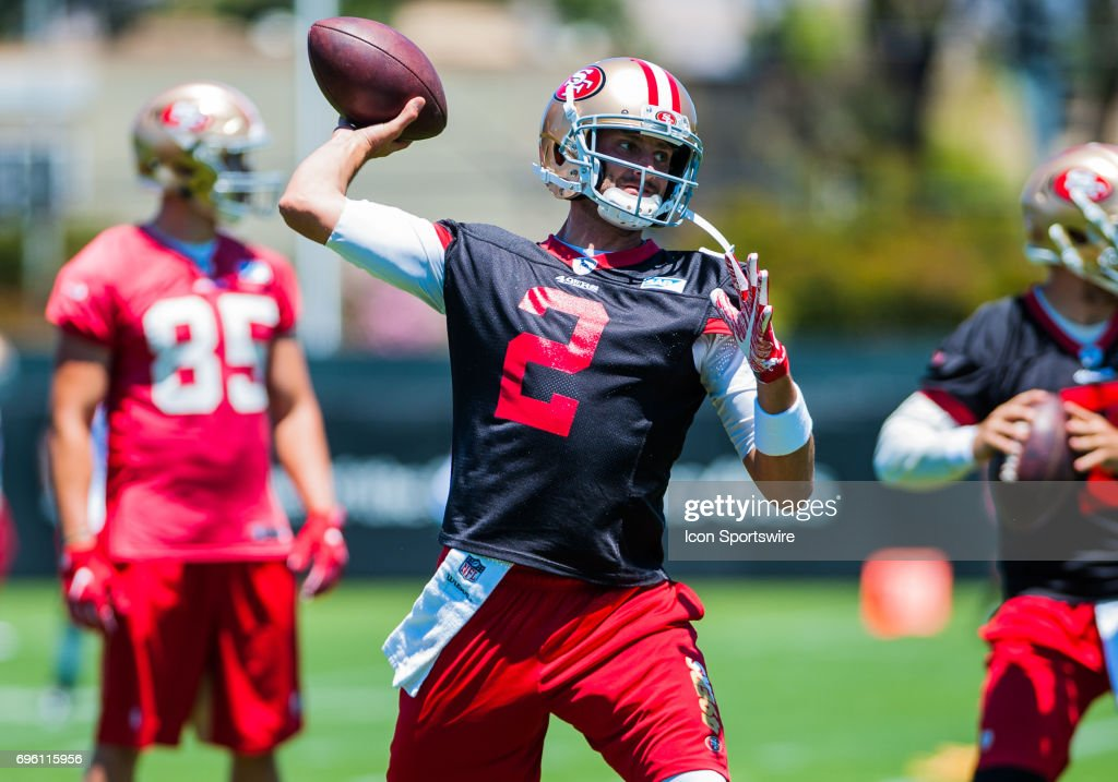 San Francisco 49ers Brian Hoyer (2) throws to the end zone during the San Francisco 49ers Minicamp at SAP Performance Facility in Santa Clara,CA on June 14th, 2017