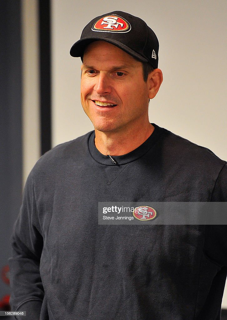 San Francisco 49ers coach <a gi-track='captionPersonalityLinkClicked' href=/galleries/search?phrase=Jim+Harbaugh&family=editorial&specificpeople=779595 ng-click='$event.stopPropagation()'>Jim Harbaugh</a> attends Game Day Speech Clinic at San Francisco 49ers Practice Facility on November 12, 2012 in Santa Clara, California.