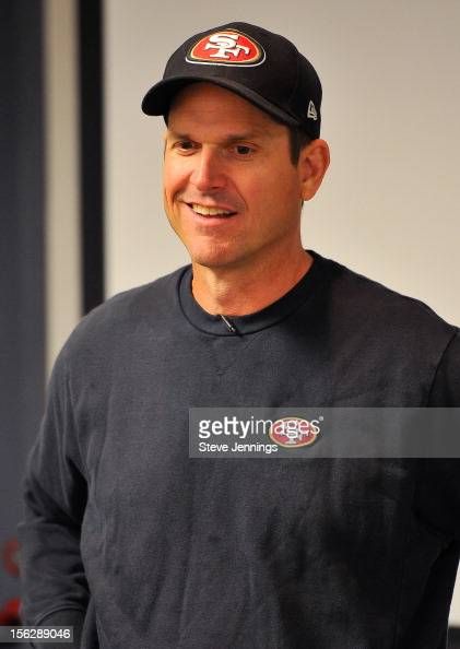 San Francisco 49ers coach Jim Harbaugh attends Game Day Speech Clinic at San Francisco 49ers Practice Facility on November 12 2012 in Santa Clara...