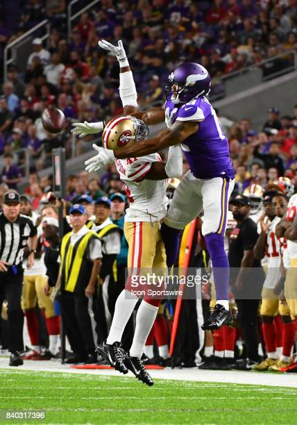 San Francisco 49ers cornerback Ahkello Witherspoon breaks up a pass intended for Minnesota Vikings Wide Receiver Michael Floyd during a NFL preseason...