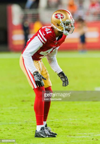 San Francisco 49ers cornerback Ahkello Witherspoon is set for a play during the preseason game between San Francisco 49ers verses Denver Broncos at...