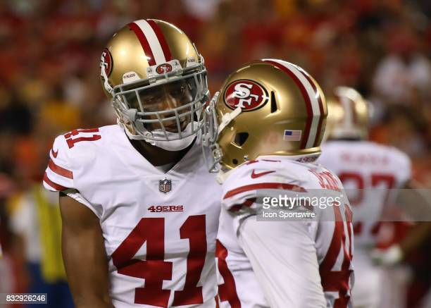San Francisco 49ers cornerback Ahkello Witherspoon talks to San Francisco 49ers defensive back Lorenzo Jerome in the first quarter of an NFL week 1...