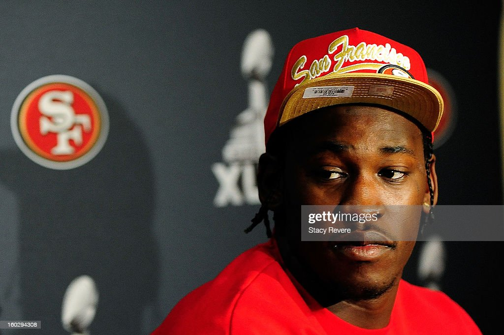 San Francisco 49ers defensive end Aldon Smith speaks with the media during a media availability session for Super Bowl XLVII at the New Orleans...