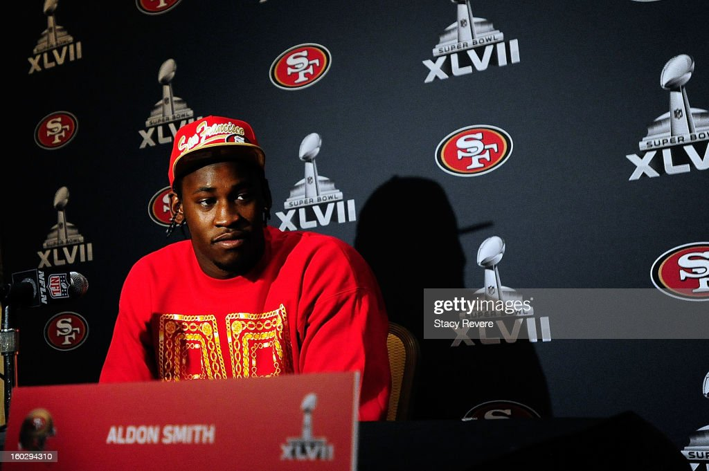San Francisco 49ers defensive end Aldon Smith speaks with the media during a media availability session for Super Bowl XLVII at the New Orleans Marriot on January 28, 2013 in New Orleans, Louisiana.