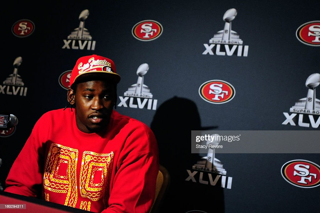San Francisco 49ers defensive end <a gi-track='captionPersonalityLinkClicked' href=/galleries/search?phrase=Aldon+Smith&family=editorial&specificpeople=6522981 ng-click='$event.stopPropagation()'>Aldon Smith</a> speaks with the media during a media availability session for Super Bowl XLVII at the New Orleans Marriot on January 28, 2013 in New Orleans, Louisiana.