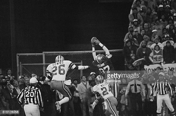 San Francisco 49ers Dwight Clark goes up in the air in the end zone for the gametying touchdown pass from Qb Joe Montana to set up the PAT which beat...