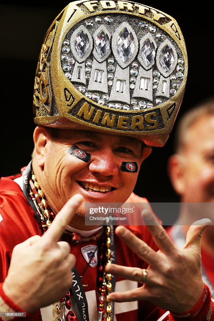 San Francisco 49ers fan Mark Castanon from San Jose, California shows support for his team prior to the 49ers playing against the Baltimore Ravens during Super Bowl XLVII at the Mercedes-Benz Superdome on February 3, 2013 in New Orleans, Louisiana.