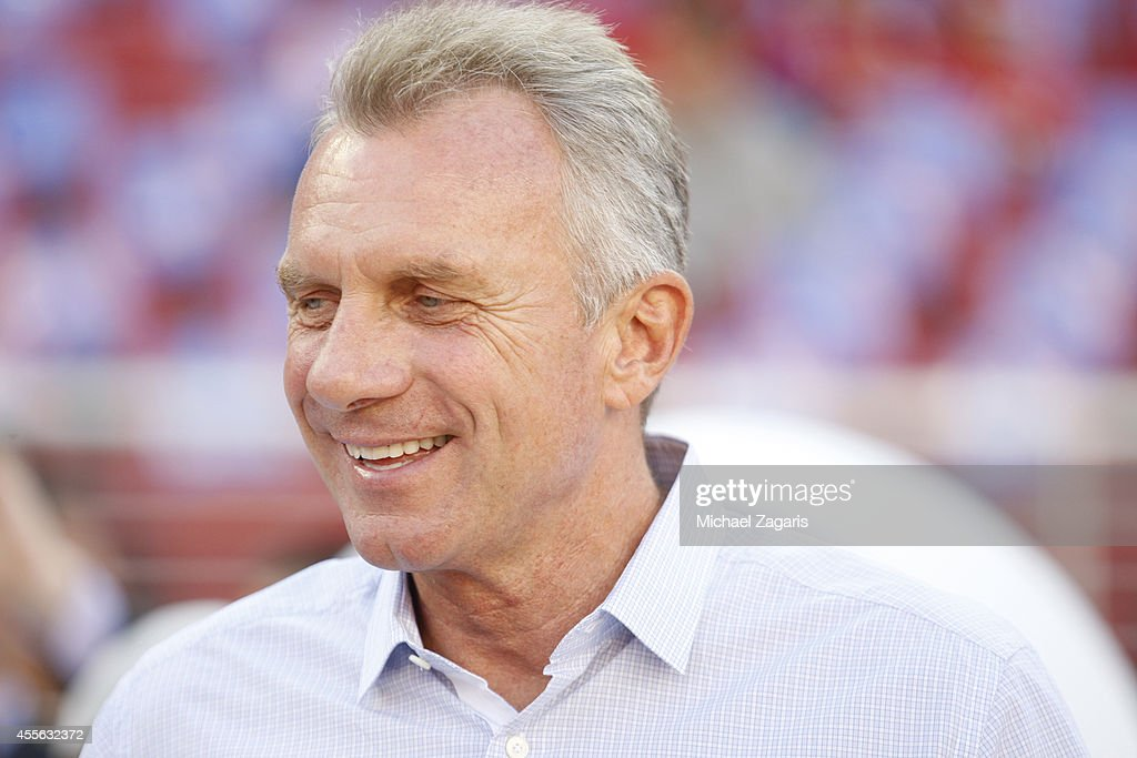 San Francisco 49ers legend Joe Montana stands on the field prior to the game against the Chicago Bears at Levi Stadium on September 14, 2014 in Santa Clara, California. The Bears defeated the 49ers 28-20.