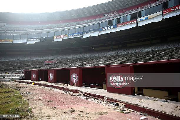 San Francisco 49ers logos remain inside Candlestick Park on February 4 2015 in San Francisco California The demolition of Candlestick Park the former...