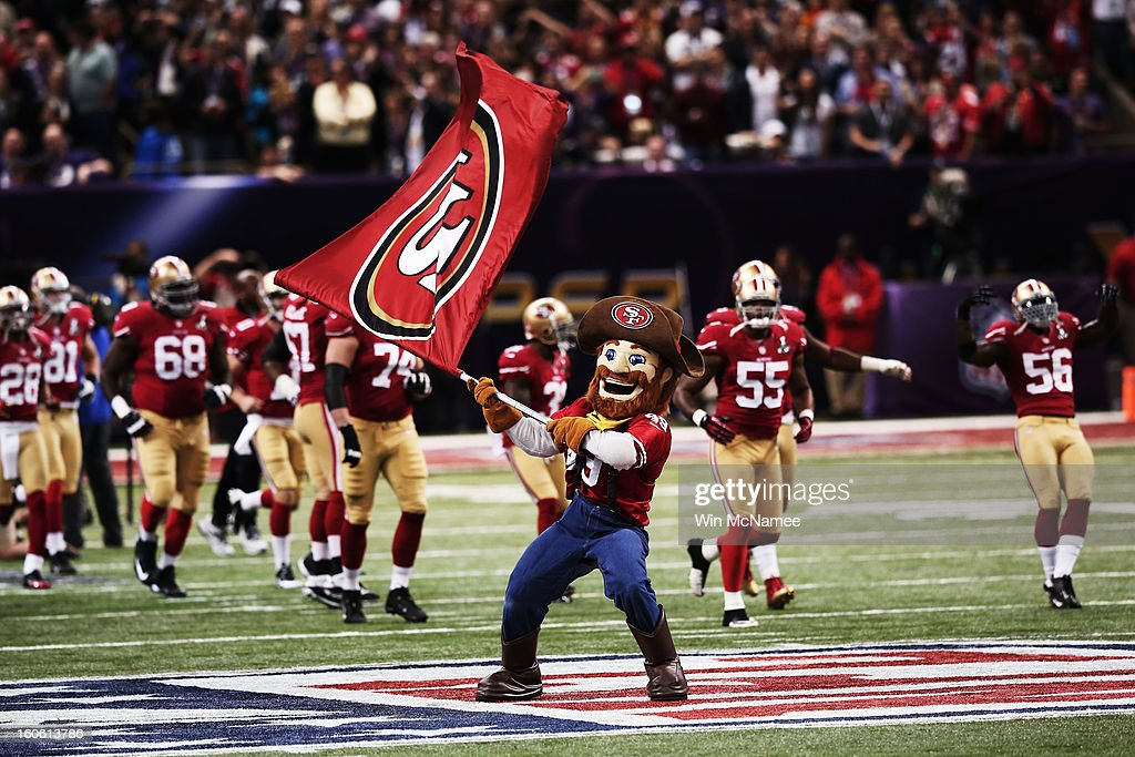 San Francisco 49ers mascot Sourdough Sam waves a flag on the field as players take the field against the Baltimore Ravens during Super Bowl XLVII at the Mercedes-Benz Superdome on February 3, 2013 in New Orleans, Louisiana.