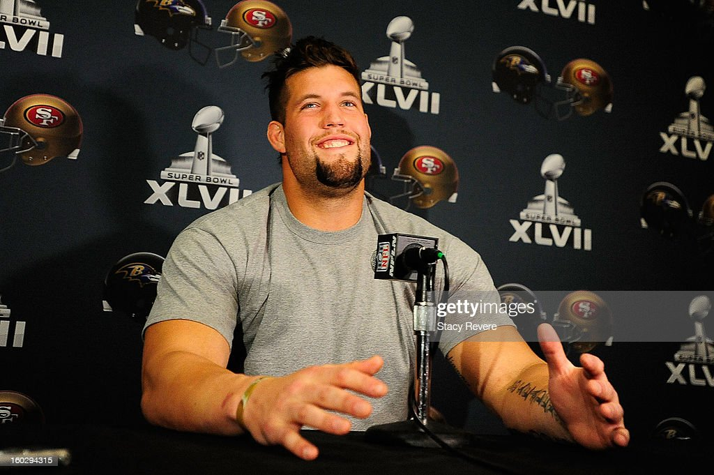 San Francisco 49ers offensive guard Alex Boone speaks with the media during a media availability session for Super Bowl XLVII at the New Orleans Marriot on January 28, 2013 in New Orleans, Louisiana.