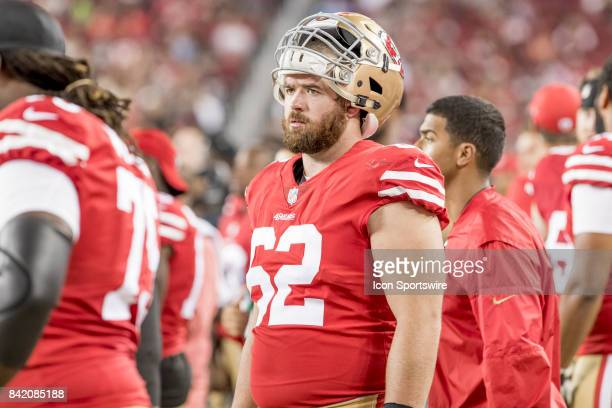 San Francisco 49ers Offensive Lineman Erik Magnuson watches from the sidelines during a preseason NFL game between the Los Angeles Chargers and San...