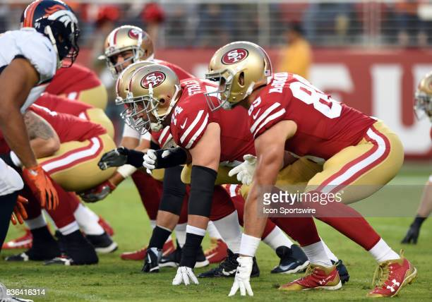 San Francisco 49ers Offensive Tackle Joe Staley lines up at the line of scrimmage during an NFL preseason game between the Denver Broncos and the San...