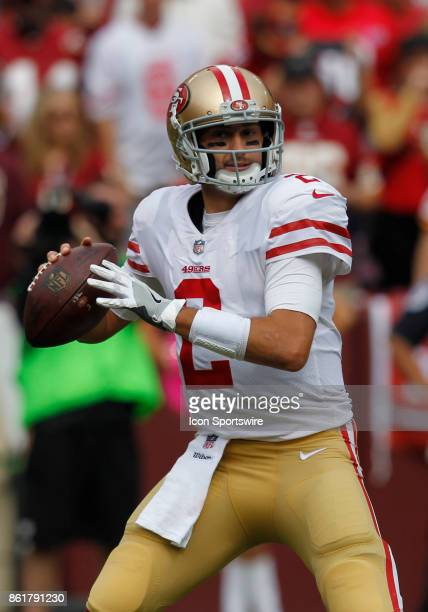 San Francisco 49ers quarterback Brian Hoyer surveys the field from the pocket looking for an open receiver during a football game between the San...