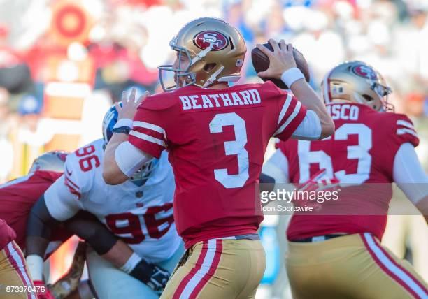 San Francisco 49ers quarterback CJ Beathard gets set to throw a pass during the regular season game between the San Francisco 49ers and the New York...