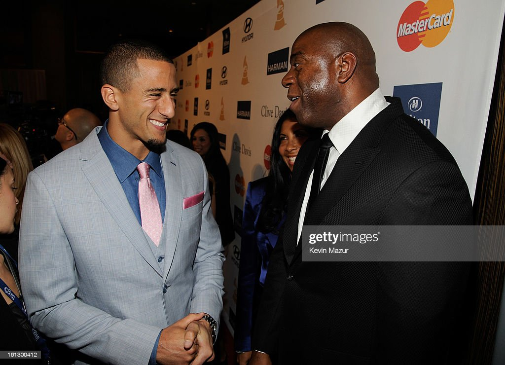 San Francisco 49ers quarterback Colin Kaepernick and Magic Johnson arrive at the 55th Annual GRAMMY Awards Pre-GRAMMY Gala and Salute to Industry Icons honoring L.A. Reid held at The Beverly Hilton on February 9, 2013 in Los Angeles, California.