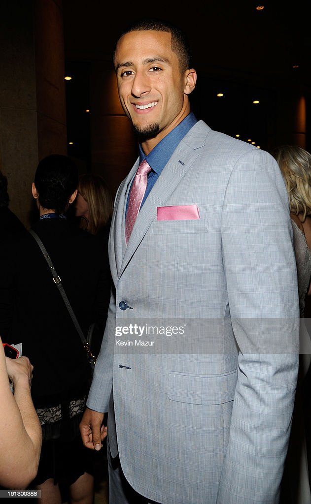 San Francisco 49ers quarterback Colin Kaepernick arrives at the 55th Annual GRAMMY Awards Pre-GRAMMY Gala and Salute to Industry Icons honoring L.A. Reid held at The Beverly Hilton on February 9, 2013 in Los Angeles, California.