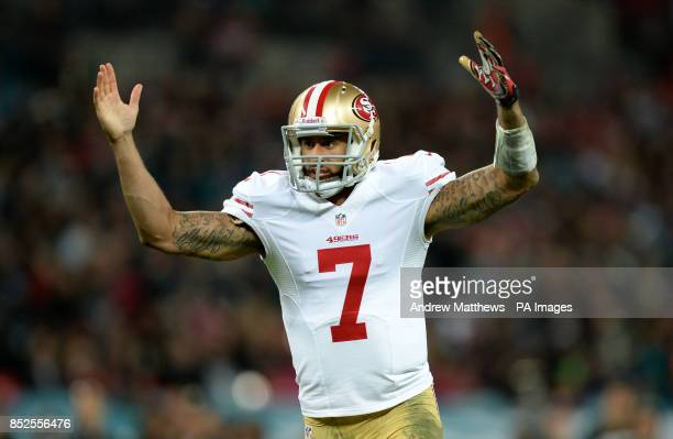 San Francisco 49ers' quarterback Colin Kaepernick gestures during the NFL International match at Wembley Stadium London