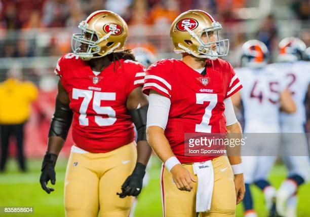 San Francisco 49ers quarterback Matt Barkley after turning the ball over on a fumble during the preseason game between San Francisco 49ers verses...