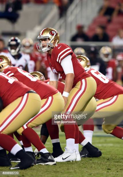 San Francisco 49ers Quarterback Matt Barkley calls out the play at the line of scrimmage during an NFL preseason game between the Denver Broncos and...