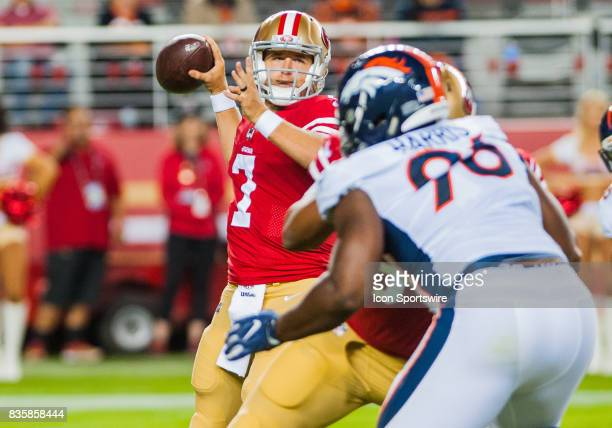 San Francisco 49ers quarterback Matt Barkley gets set to throw on third down during the preseason game between San Francisco 49ers verses Denver...