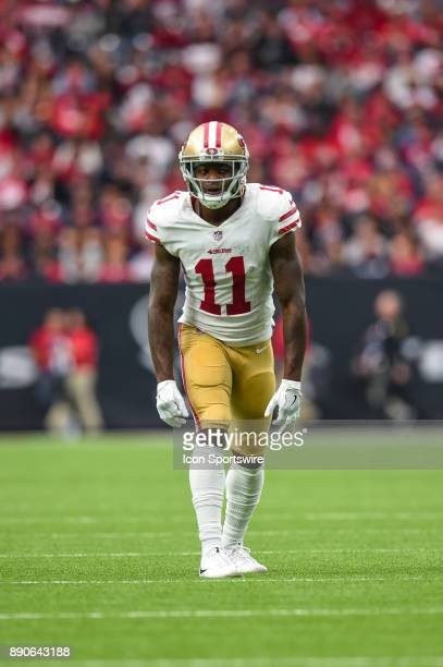 San Francisco 49ers wide receiver Marquise Goodwin gets ready for a play during the football game between the San Francisco 49ers and the Houston...