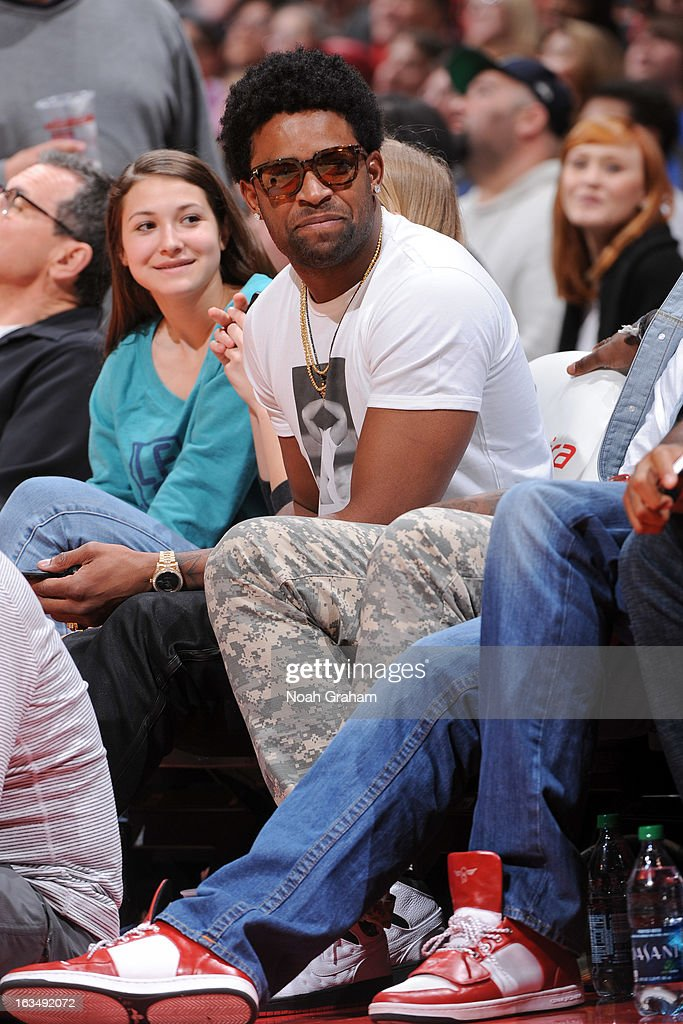 San Francisco 49ers wide receiver Michael Crabtree attends a game between the Detroit Pistons and the Los Angeles Clippers at Staples Center on March 10, 2013 in Los Angeles, California.