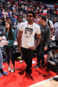 San Francisco 49ers wide receiver Michael Crabtree leaves the court following a game between the Detroit Pistons and the Los Angeles Clippers at...
