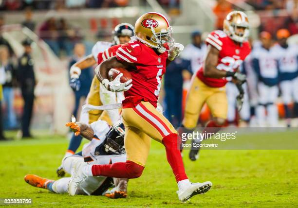 San Francisco 49ers wide receiver Victor Bolden returns a kick off return for a ball for a touch down in the forth quarter during the preseason game...
