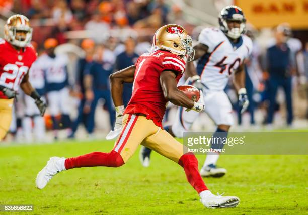 San Francisco 49ers wide receiver Victor Bolden runs down the field for a touch down on a kick off return during the preseason game between San...