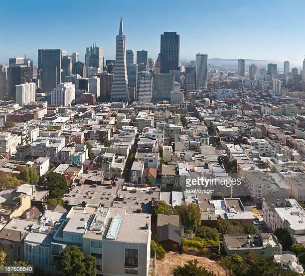 San Francisco aerial cityscape skyscrapers Financial District North Beach California