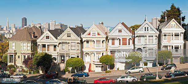 San Francisco Alamy Row Victorian villas iconic homes panorama California