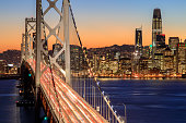 Clear evening over San Francisco waterfront with holiday lights from Yerba Buena Island, California, USA.