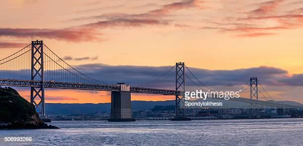 San Francisco Bay Bridge at night , California