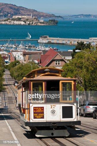 San Francisco bay historic cable car steep streets Alcatraz California