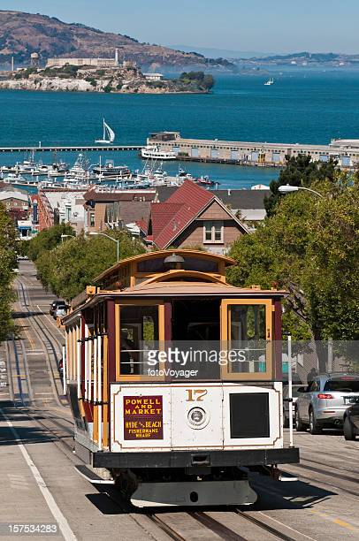 San Francisco bay historic cable car steep streets Alcatraz California