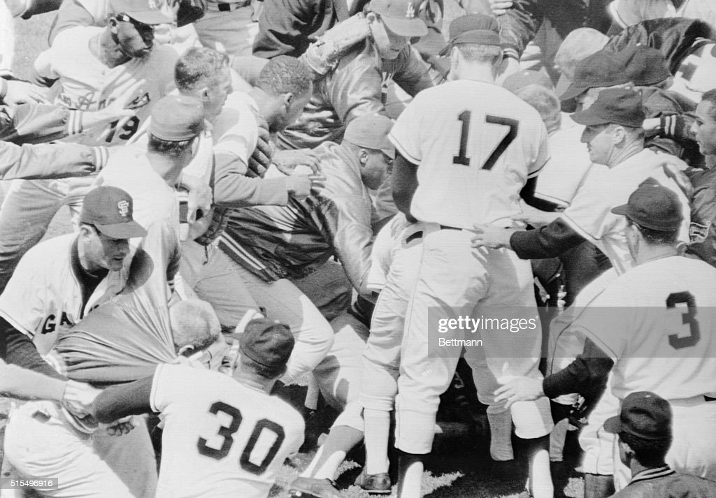 Both benches poured onto the field here in 3rd inning in game between Los Angeles Dodgers and San Francisco Giants when pitcher Juan Marichal and...