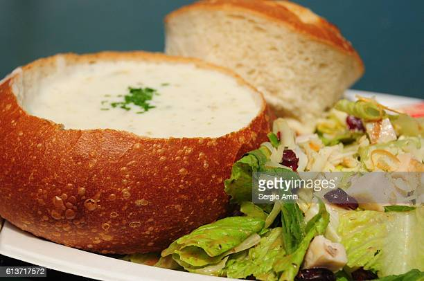 San Francisco bread bowl with clam chowder