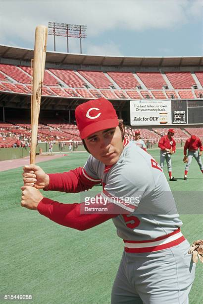 4/14/1973 San Francisco CA Cincinnati Reds catcher Johnny Bench shown in batting pose during April 14th game with Giants
