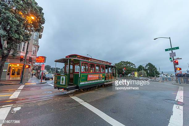 San Francisco Cable Car at Hyder Street after raining